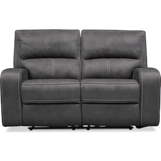 Burke Dual Power Reclining Loveseat-Charcoal