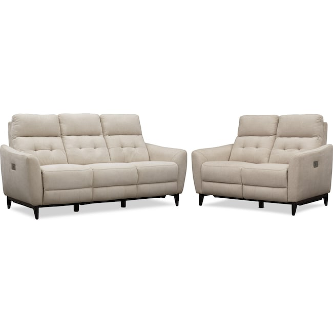 Living Room Furniture - Hayes Dual-Power Reclining Sofa and Loveseat Set