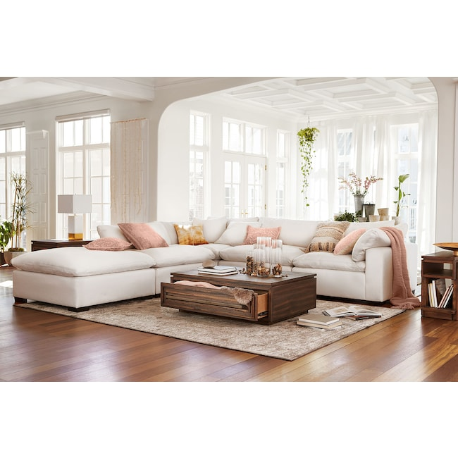 Living Room Furniture - Plush 4-Piece Sectional and Ottoman - Ivory