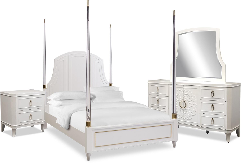Bedroom Furniture - Isabel 6-Piece Post Bedroom Set with Nightstand, Dresser and Mirror