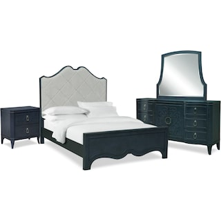 Isabel 6-Piece Upholstered Bedroom Set with Nightstand, Dresser and Mirror
