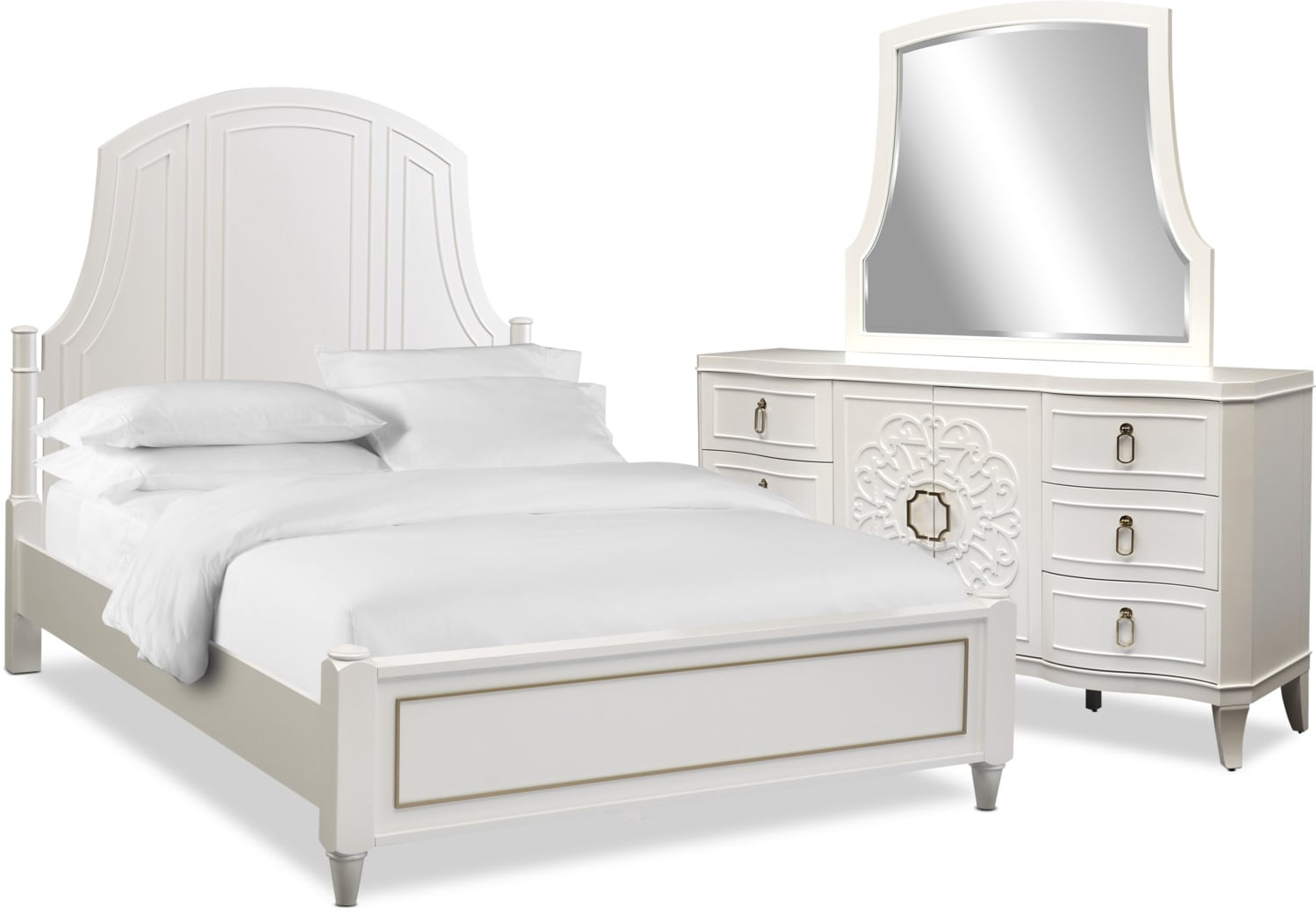 Bedroom Furniture - Isabel 5-Piece Bedroom Set with Dresser and Mirror