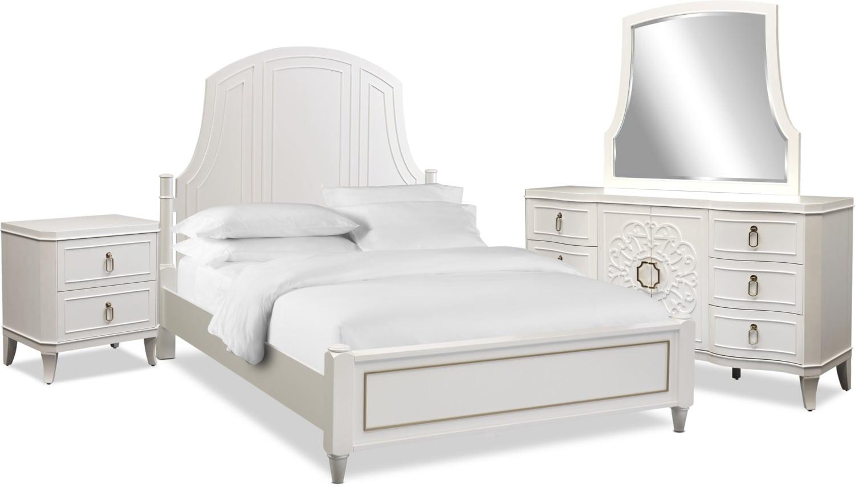 Bedroom Furniture - Isabel 6-Piece Bedroom Set with Nightstand, Dresser and Mirror