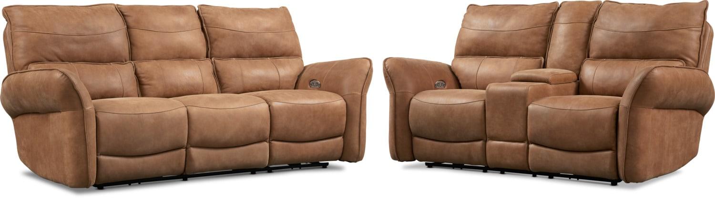 Living Room Furniture - Aspen Dual-Power Reclining Sofa and Loveseat Set