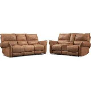 Aspen Dual-Power Reclining Sofa and Loveseat Set