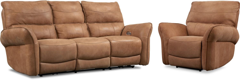 Living Room Furniture - Aspen Dual-Power Reclining Sofa and Recliner Set