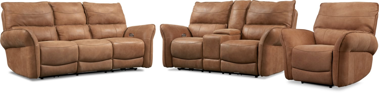 Living Room Furniture - Aspen Dual-Power Reclining Sofa, Loveseat and Recliner