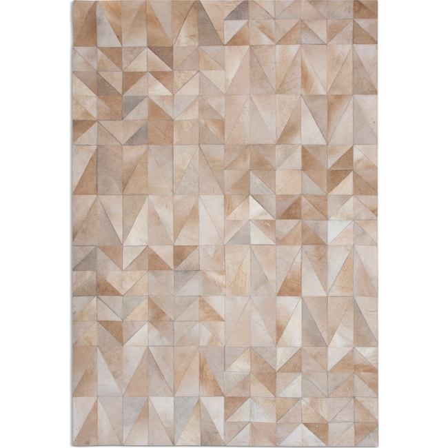 Rugs - Geo Hide Area Rug - Tan