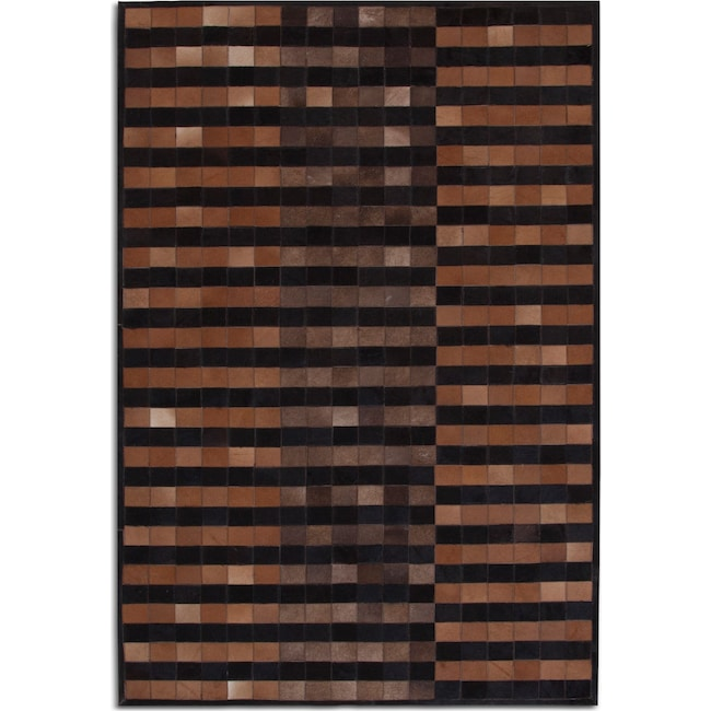Rugs - Geo Hide Area Rug - Brown