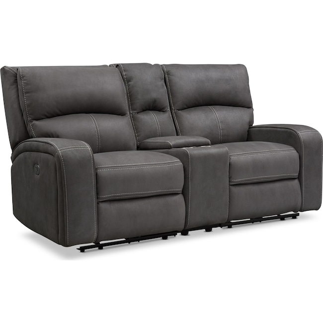 Living Room Furniture - Burke Dual-Power Reclining Loveseat with Console