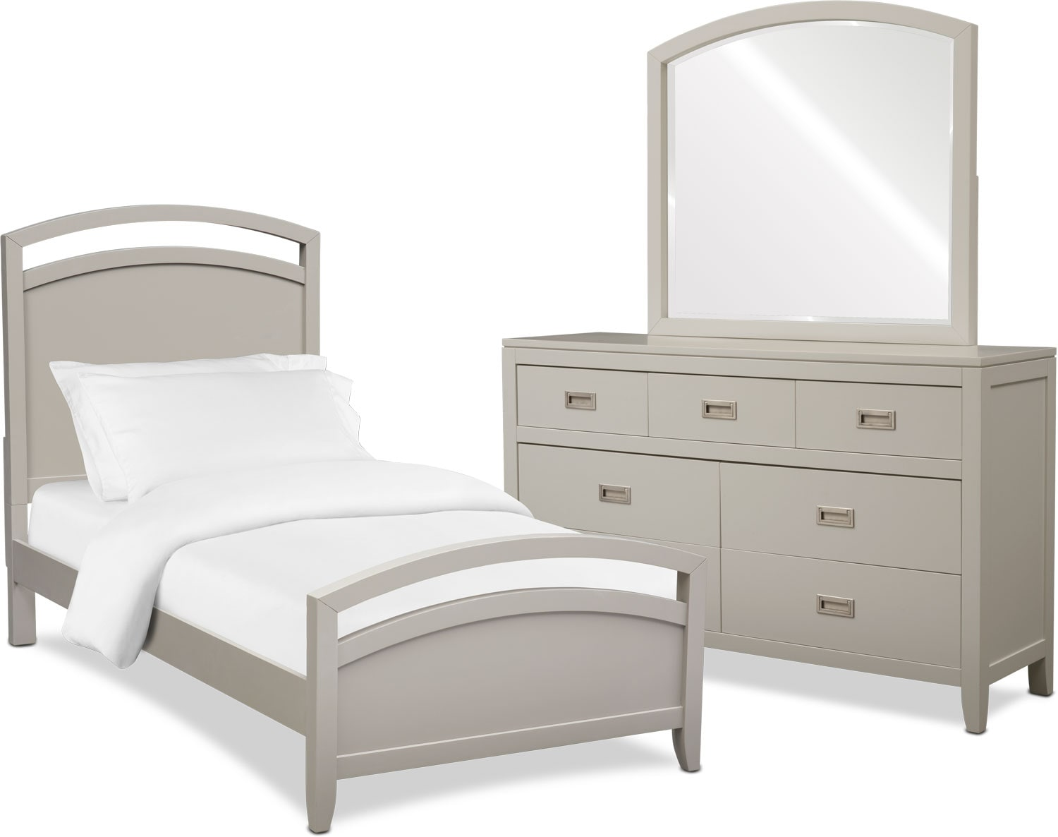 Bedroom Furniture - Emerson 5-Piece Panel Bedroom Set with Dresser and Mirror