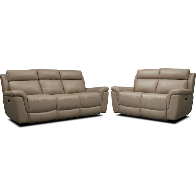 Living Room Furniture - Brooklyn Dual-Power Reclining Sofa and Loveseat Set