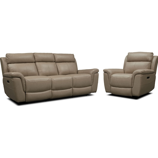 Living Room Furniture - Brooklyn Dual-Power Reclining Sofa and Recliner Set