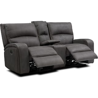 Burke Manual Reclining Loveseat with Console - Charcoal