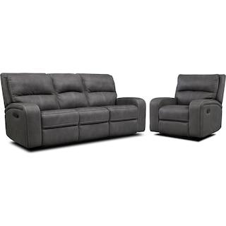 Burke Manual Reclining Sofa & Recliner Set - Charcoal