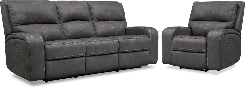 Living Room Furniture - Burke Dual-Power Reclining Sofa and Recliner Set