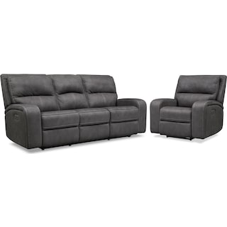Burke Dual-Power Reclining Sofa and Recliner Set
