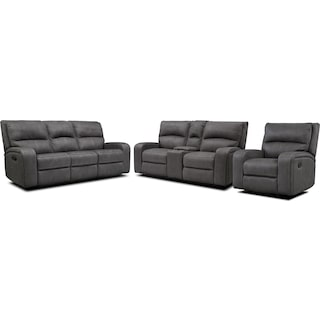 Burke Manual Reclining Sofa, Loveseat with Console & Recliner  - Charcoal