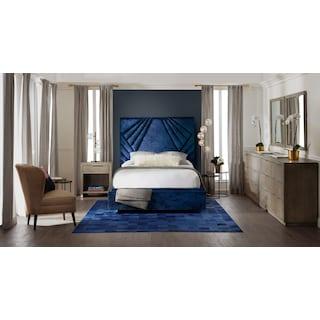 Kiera Queen Upholstered Gem Storage Bed - Midnight
