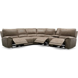 Gallant 6-Piece Dual-Power Reclining Sectional with 3 Reclining Seats - Taupe