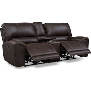 Gallant 3-Piece Manual Reclining Sofa with Console - Chocolate
