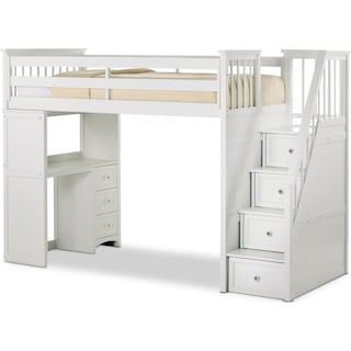 Flynn Twin Loft Bed with Storage Stairs and Desk- White