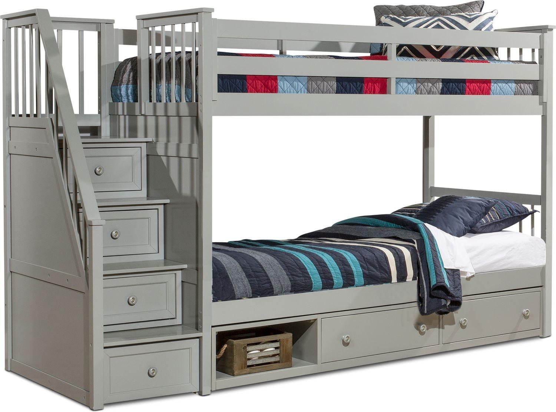 Kids Furniture - Flynn Storage Bunk Bed with Storage Stairs