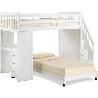 Flynn Loft Bed with Storage Stairs and Desk