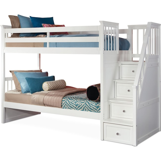 Kids Furniture - Flynn Bunk Bed with Storage Stairs