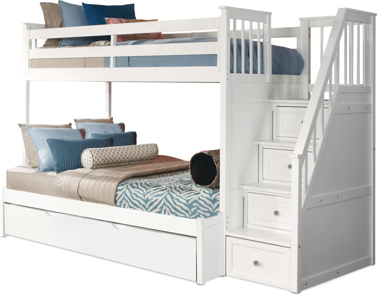 Kids Furniture - Flynn Trundle Bunk Bed with Storage Stairs