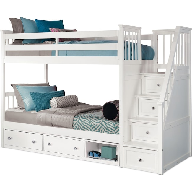 Kids Furniture - Flynn Storage Bunk Bed with Storage Stairs
