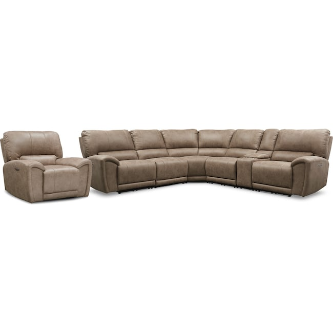 Living Room Furniture - Gallant 6-Piece Dual-Power Reclining Sectional with Recliner