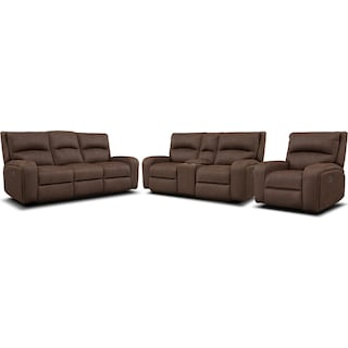Burke Dual-Power Reclining Sofa, Loveseat with Console and Recliner
