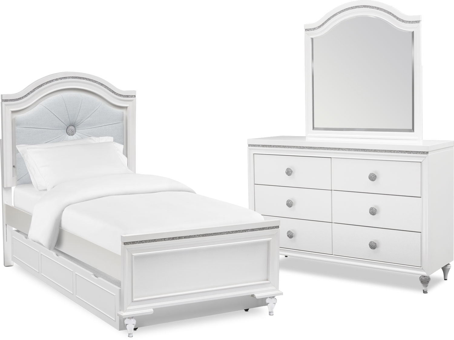Kids Furniture - Sophia 5-Piece Bedroom Set with Trundle, Dresser and Mirror
