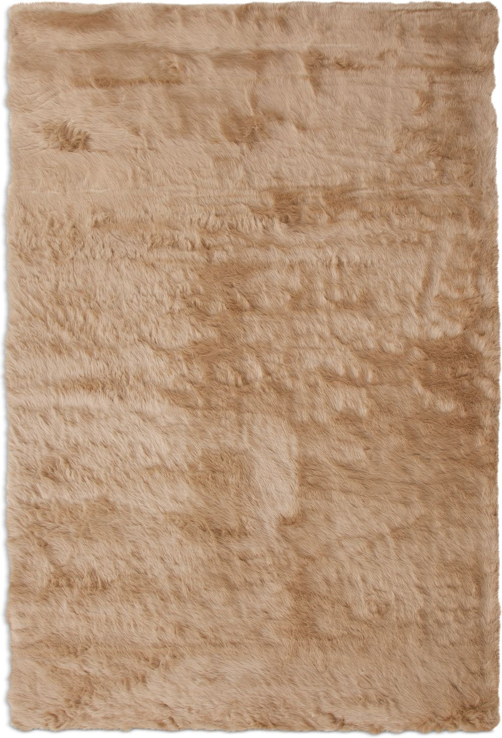 Rugs - Faux Mink Fur Area Rug - Tan