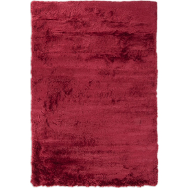 Rugs - Faux Mink Fur Area Rug - Ruby