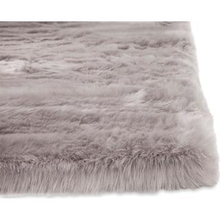 Faux Mink Fur Area Rug - Silver