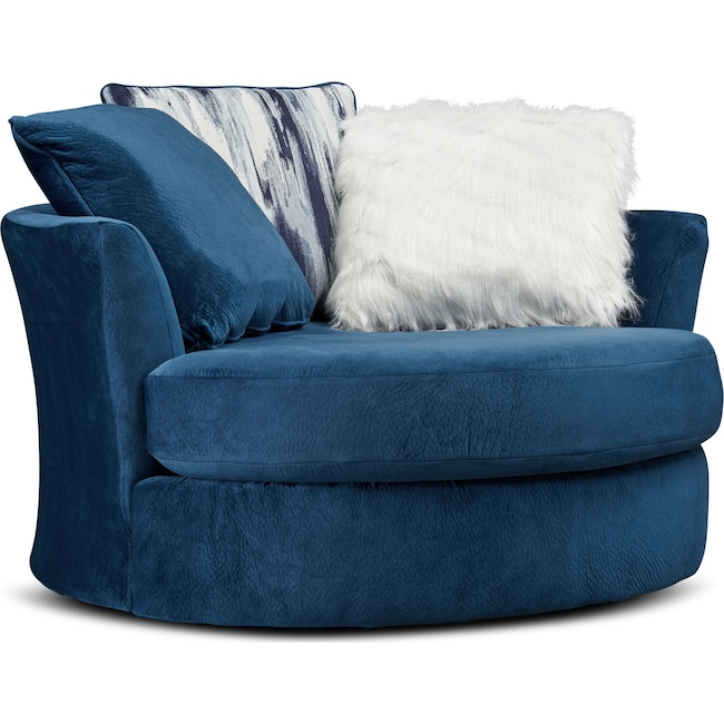 Living Room Furniture - Cordelle Swivel Chair with Faux Fur Pillows
