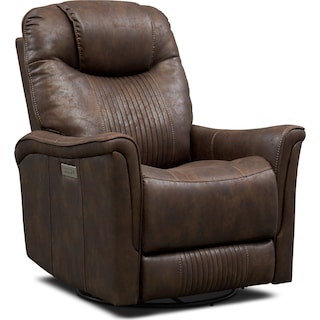Maverick Dual-Power Swivel Recliner - Brown