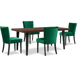 Avalon Rectangle Dining Table with 4 Upholstered Dining Chairs