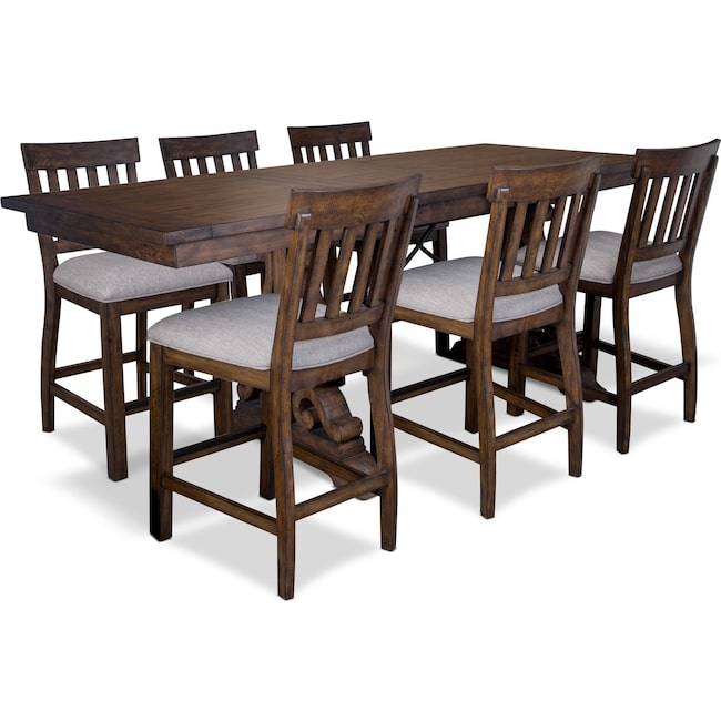 Dining Room Furniture - Charthouse Counter-Height Dining Table and 6 Stools