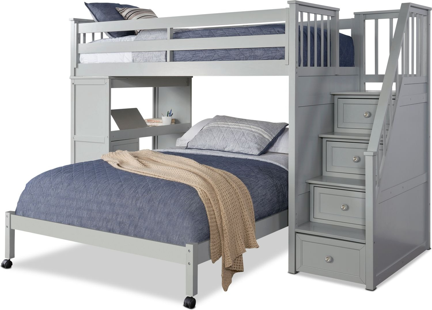 Kids Furniture - Flynn Loft Bed with Storage Stairs and Desk