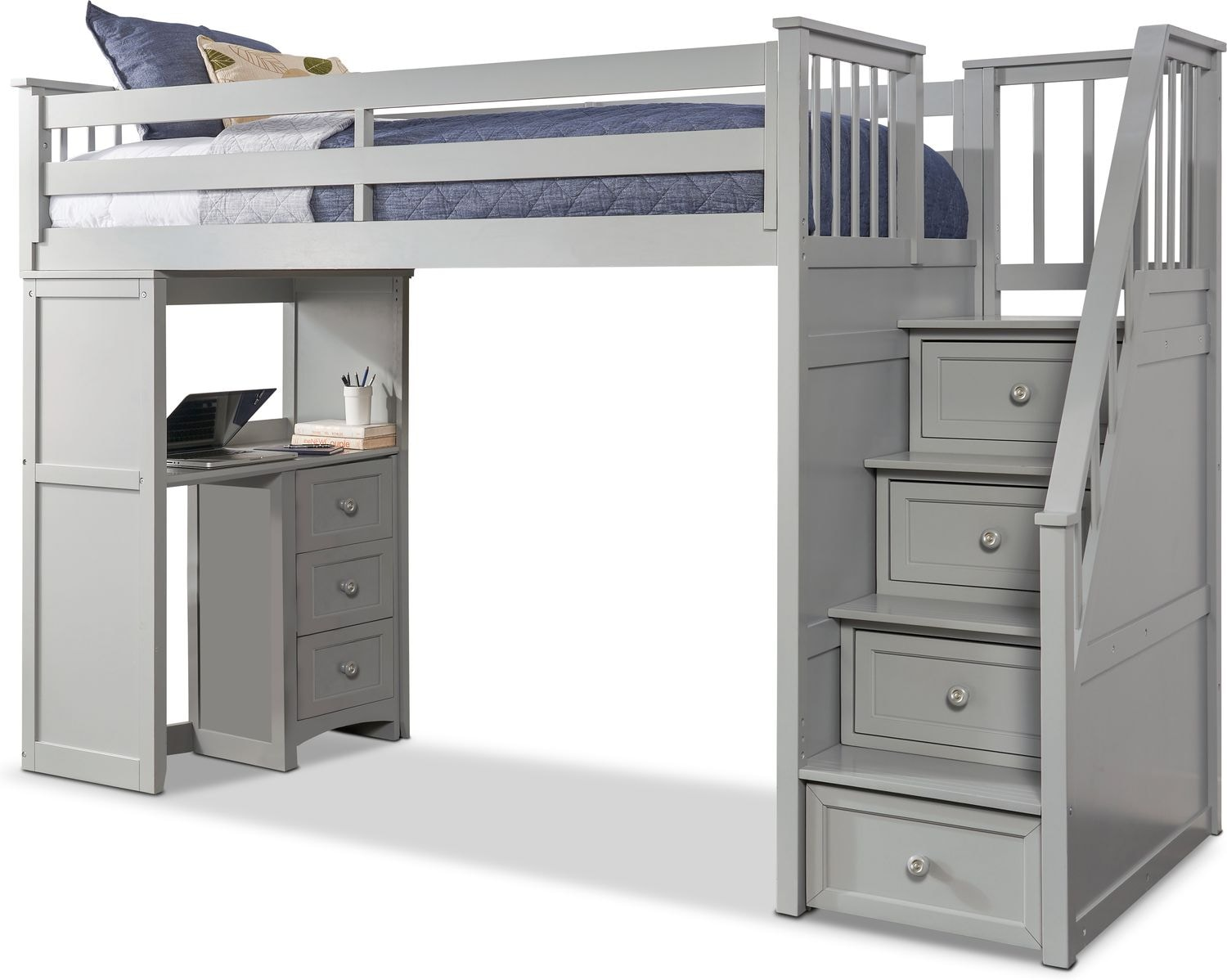 Maxtrix PERFECT Storage Low Loft Bed with Stairs & Desk Full Size Natural