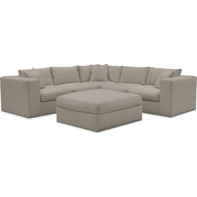Living Room Furniture - Collin Performance 5-Piece Sectional with Ottoman