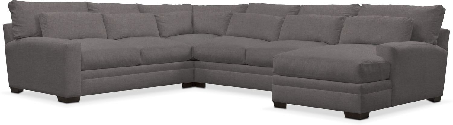 Living Room Furniture - Winston Performance 4-Piece Sectional with Chaise