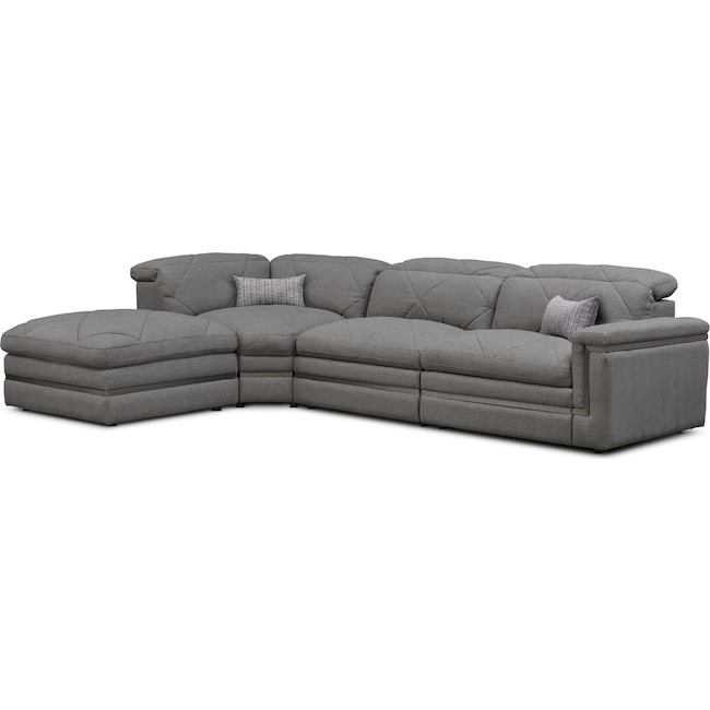 Living Room Furniture - Revel 3-Piece Dual-Power Reclining Sectional with Ottoman and 1 Reclining Seat