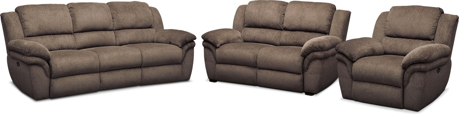 Living Room Furniture - Aldo Power Reclining Sofa, Stationary Loveseat + FREE RECLINER