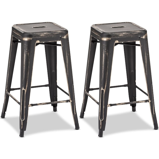 Dining Room Furniture - Biggs Set of 2 Counter-Height Stools - Black/Gold