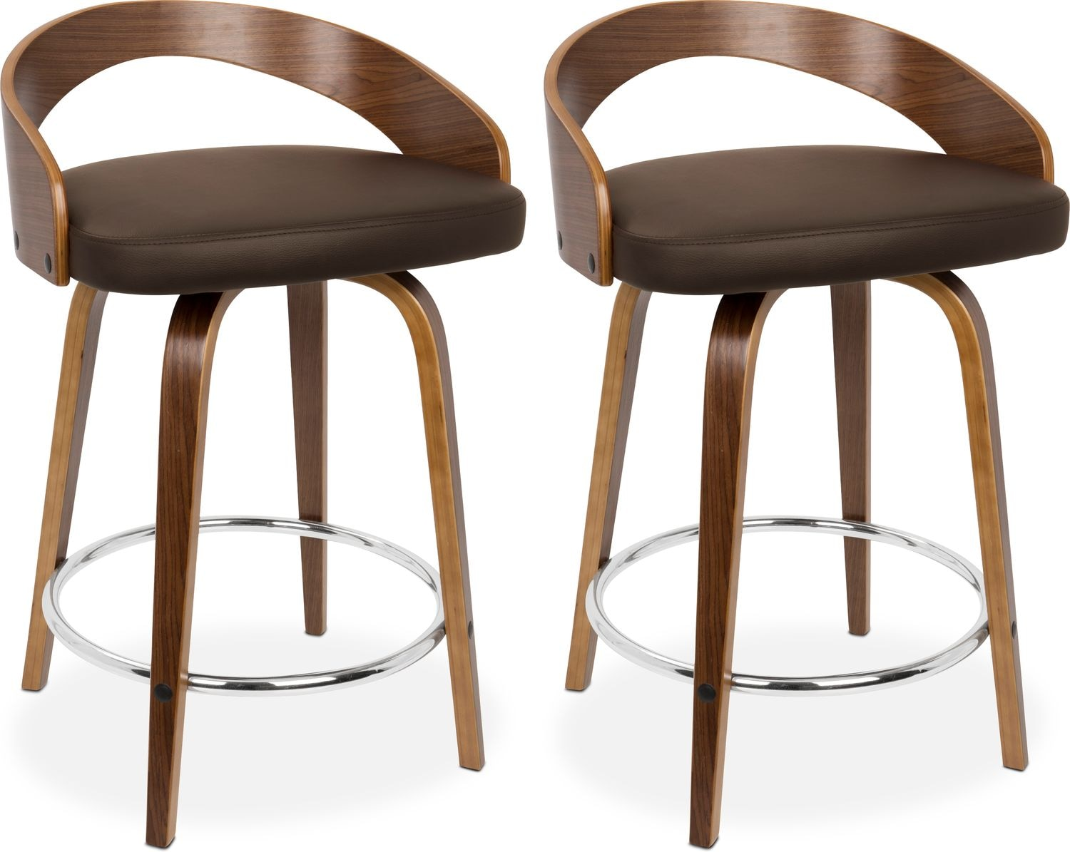 Dining Room Furniture - Finn Set of 2 Counter-Height Stools - Brown