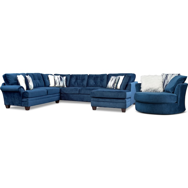 Living Room Furniture - Cordelle 3-Piece Sectional and Swivel Chair Set with Faux Fur Pillows